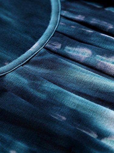DJT Damen Casual Falten Kurzarm T-Shirt mit Stretch Rundkragen Blau-5