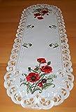 Espamira Tischdecke Tischläufer Creme Stickerei MOHN Tischdekoration Mitteldecke Sommer Herbst (Tischläufer 45x130 cm) - 3