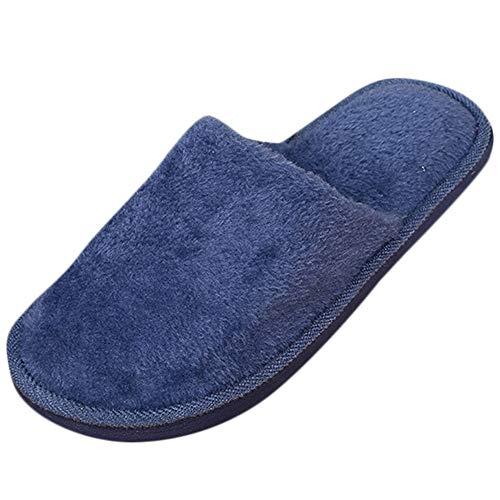 S&H-Qinpin Chaussons, Hommes Chaud Maison Peluche Doux Pantoufles À L'intérieur Antidérapant Hiver Chaussures De Chambre Au Sol