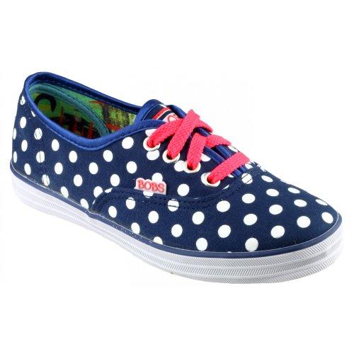 Skechers SK85494 - Chaussures à pois en toile - Fille Bleu marine/Blanc