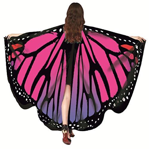 EDOTON Schmetterlingsflügel für Frauen, Nymphe Pixie Kostüm Zubehör Schals Party Cosplay Tanzkostüm (Heißes Rosa) (Kostüme Blauer Schmetterling)