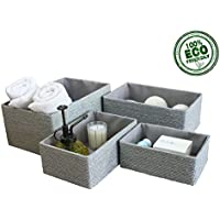 Storage Baskets Boxes Set of 4, ECO Material Made of Paper, Stackable Shelf Baskets, Closet Maid Drawer Organizers, For Bedroom Office Dormitory