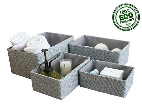 Aufbewahrungsboxen Biologisch Handarbeit aus Papier Pappe Körbe Umweltfreundlich für Accessoires Schminke 4er Set (Korb 4 Schublade)