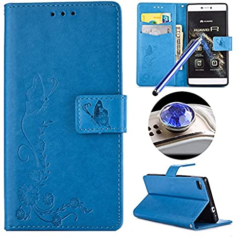 Custodia per Huawei P8, Etsue lusso di stile del fiori e farfalla modello di colore puro blu ultra molle Portafoglio in pelle cassa di libro Con chiusura magnetica Ultra Slim Fit Sottile flip copertura di alta qualità di cuoio dell'unità di elaborazione del basamento del foglio della copertura della cassa Con slot per schede antiurto di protezione per Huawei P8+Blu Stylus Pen e scintillio di Bling Diamond Dust Plug colora casuale-Flower,Blue