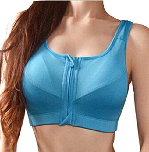 Femme Helisopus ancien haut zipper sport fermeture exercice de yoga soutien-gorge Bleu