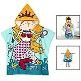 LHKJ Bambini Bagno Asciugamano,Poncho per Bambine con Disegno di Principessa con cappuccio Bambini Spiaggia Asciugamano