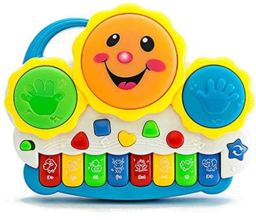 VNC Baby Drum Musical Toy, Keyboard Piano Drum Set with Music and Lights, Infant Musical Electronic Learning Toy for 1 Year Old Baby Infant Toddler