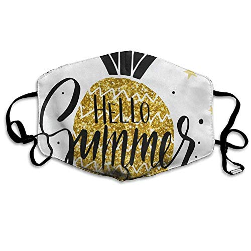 EighthStore Pineapple Gold Mouth Cover Mask Respirator Germ Protective Safety Warm Windproof Mask Dustproof Washable Safety Mask Reusable Mouth Mask Unisex for Men Women Polyes Mund Maske