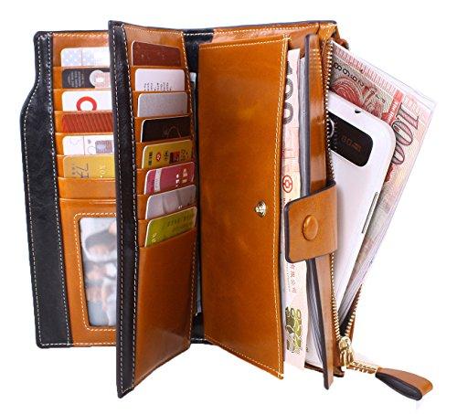 SQLP Donna grande capacità lusso cera vera pelle Portafoglio con tasca con zip Lady portafogli in pelle di alta qualità borsa colore-6