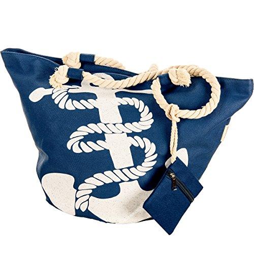 Große XL Strand Tasche mit Anker Motiv Strand Tasche Beach Bag Shopper marine Streifen maritim blau