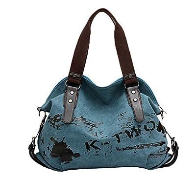 Fansela(TM) Womens Simple Cool Graffiti Canvas Handbag Crossbody Tote Bag