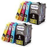 OfficeWorld Ersatz für Epson 27 27XL Druckerpatronen Hohe Kapazität Kompatibel für Epson WorkForce WF-3620DWF WF-7620DTWF WF-7610DWF WF-3640DTWF WF-7110DTW (2 Schwarz, 2 Cyan, 2 Magenta, 2 Gelb)