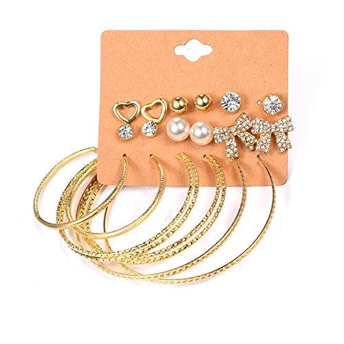 Ohrringe Sets Große Hoop Synthetische Perlen Chevron Kristall Herz Fliege Frau Schmuck (Stil 1) (Chevron Ohrringe Gold)
