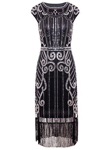 Gatsby Pailletten Verschönert Quasten Saum Flapper Kleid D20S013 (S, Schwarz Silber) (Silber Flapper Kleid)