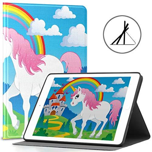 Pad 9.7 Hülle Für Mädchen Fairy Tale Unicorn Theme Image 2 Vector Illustra Fit 2018/2017 Pad 5./6. Generation Pad 9.7 Hülle Auch für Pad Air 2 / Pad Air Auto Wake/Sleep geeignet