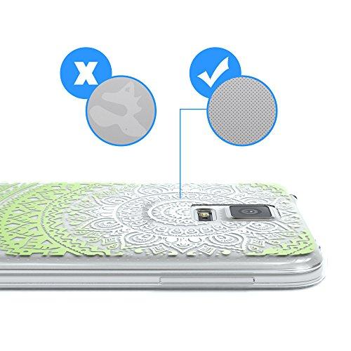 Samsung Galaxy S5 / S5 Neo Hülle - EAZY CASE Handyhülle - Ultra Slim Glitzer Schutzhülle aus Silikon in Pink Henna Weiß / Grün
