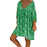 DAY.LIN Robes Casual Prom Femmes Sexy Manches Courte Robe T-Shirt Impression V Neck en Vrac Grande Taille Party Club Robes Cocktail Robes Soirée(XX-Large,Vert)