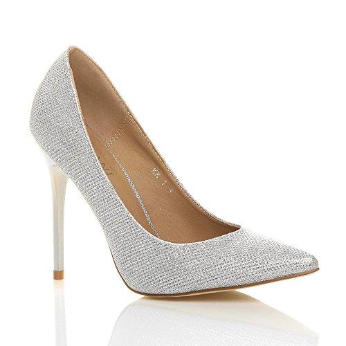 Donna tacco alto lavoro festa elegante scarpe décolleté a punta taglia 3 36