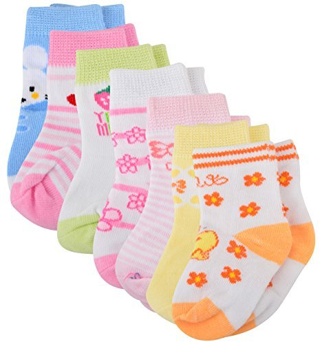 Baby Bucket Soft Cotton Baby 7pc Socks Set (Pink)