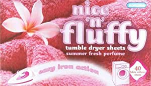 Nice N Fluffy Tumble Dryer/Fabric Softener Sheets 40/Pack (22221)