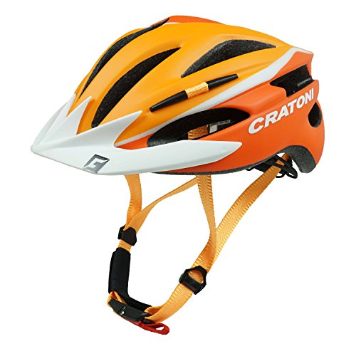 Fahrradhelm Helm Cratoni Pacer. orange-white matt - Visier weiß. Gr. S-M (54-58 cm)