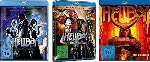 Hellboy 1+2+3 (1, Die goldene Armee, Call of Darkness) im Set - Deutsche Originalware [4 Blu-rays]
