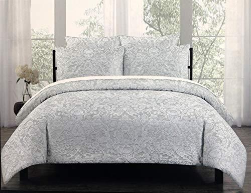 Bestickte Doppel-duvet-set (Tahari Home Bettwäsche-Set, 3-teilig, Bestickt, Blumen-Damast-Muster, Vögel in weißem Faden auf hellgrau - Charleston (Full/Queen))