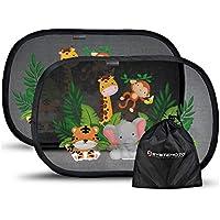 Systemoto Sonnenschutz Auto Baby mit Zertifiziertem UV Schutz (2er Set) - Selbsthaftende Sonnenblenden für Kinder mit süßen Tier Motiven