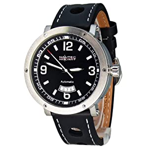Nautec No Limit Shamal - Reloj analógico de caballero automático con correa de piel negra - sumergible a 100 metros de Nautec No Limit