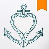 KLEINLAUT 3D-Origamis aus Holz - Wähle Ein Motiv & Farbe - Anker mit Herz - 89 x 100 cm (XXL) - Neon Orange