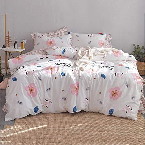 GYCV-4-Teilige Bettwäsche aus Ägyptischer Baumwolle 100 Prozent Qualität Bettbezug-Sets Hypoallergen Satin Weiche Spannbetttuch Full Size Teens Männer Frauen Atmungsaktiv,White,200 * 230cm -
