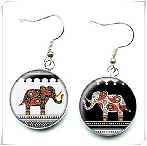 Pendientes de plata con elefantes étnicos, cabujones de cristal, cúpula de cristal,...