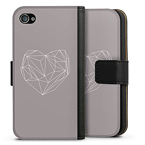 Apple iPhone X Silikon Hülle Case Schutzhülle Herz Liebe Love Sideflip Tasche schwarz