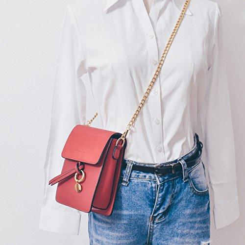 BUKUANG Telefono Donna Borsa Messenger Bag Mini Bag Catena Tracolla Selvaggio Piccolo Pacchetto Quadrato,F C