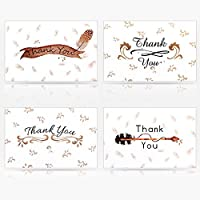 Geekper 16 Thank You Greeting Cards - Folded Thank You Note Cards 4 Designs for Thanksgiving Christmas Wedding Birthday - Envelopes Included 5.9 x 3.9 inch