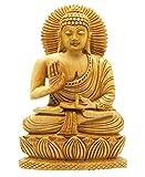 Craftvatika - Statua di Buddha seduto in legno intagliato a mano