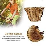 Canasta de bicicleta de mimbre para niños, Canasta delantera de bicicleta de mimbre tradicional - Tecnología manual Bolsa de transportador impermeable con bolsa de descanso con correas de cuero marrón
