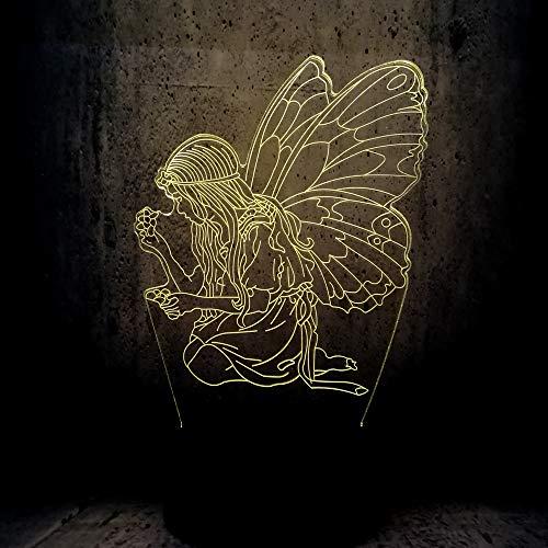 (Lixiaoyuzz 3D Nachtlampe Led Schmetterling Fee Prinz Mädchen Flügel Version Birne Lampe Farbwechsel Kind Kind Geburtstag Wohnkultur Geschenke-berühren)