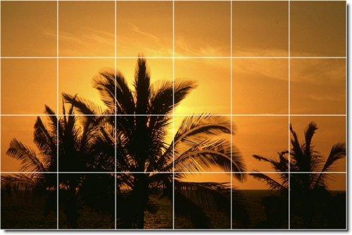 PUESTAS DE SOL FOTO COCINA TILE MURAL 28  48X 182 88CM CON (24) 12X 12AZULEJOS DE CERAMICA