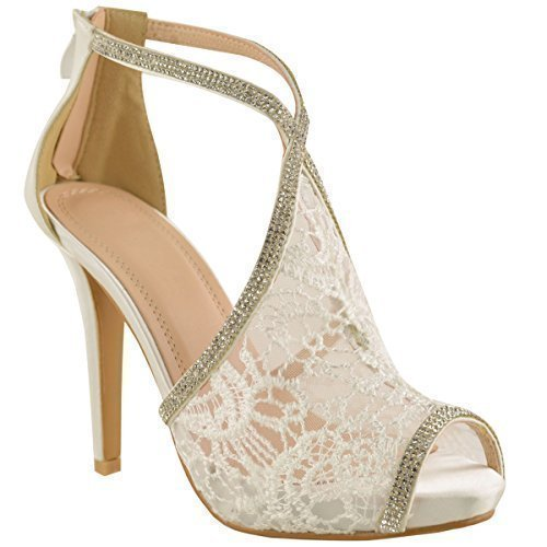 FEMMES MARIAGE CHAUSSURES A TALONS HAUTS LACETS STRASS MARIAGE BOUT OUVERT SANDALES TAILLE Blanc