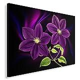 Feeby Blume Bild auf Leinwand Größe: 80x120 cm, 1 Teilig Leinwanbild Wandbild Kunstdrucke Wanddeko Natur Abstrakt Violett