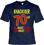 Fun Shirt mit Geburtstagsmotiv: Knackiger 70iger. Mal knackt es hier, mal knackt es da - Geschenkidee - Geburtstag - navyblau
