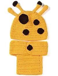 Tenflyer Historieta de la jirafa del estilo lindo bebé Atrezzo fotografía del recién nacido tejidas a mano del sombrero del ganchillo del bebé del traje