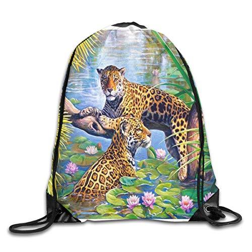 uykjuykj Tunnelzug Rucksäcke, Drawstring Backpack Bag Jungle Paradise Leopards Rucksack for Gym Travel Color 05 Lightweight Unique 17x14 IN