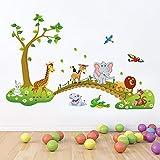 Bambini Bambini Ragazzi Ragazze Camera Decorazione della parete Poster Animali del fumetto allineati per camminare attraverso il muro del ponte Decalcomanie Animali della foresta
