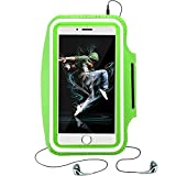 Gudior Laufen & Übungsarmband für Samsung Galaxy S6 / S6 Edge, S5 / S5 Aktiv, S4, iPhone 6 / 6S (4,7 ''), HTC One & More Handys mit Schlüsselhalter & Reflektierendes Band. (Unter 5 '' - grün)