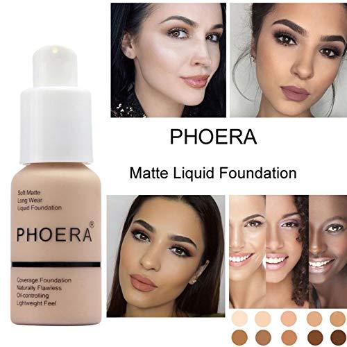 Tragen Sie Make-up Foundation (PHOERA 30ml Concealer Cover, Flüssigmatt Full Coverage Concealer Cover Shadows Skin Care Foundation Oil Control Erhellen Sie den langlebigen Shade (Buff Beige #104))
