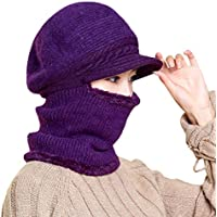 ffe85be2a3e Doingshop Winter Women Knitted Hat Thick Fleece Beanie Hat Anti-Cold Warm  Thick Neck Warmer