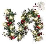 Valery Madelyn Weihnachtsgirlande 1.8M mit 20 LED Beleuchtet batteriebetrieben Tannengirlande aus PVC mit Timerfunktion Weihnahctskugeln Girlande für Weihnachtsdeko Grün Rot MEHRWEG Verpackung