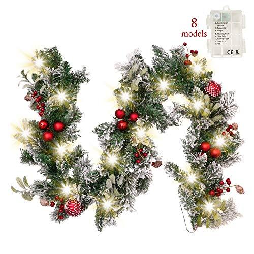 Valery madelyn ghirlanda natalizia 1.8m con 20 led ghirlanda natalizia a batteria illuminata con funzione timer palle natalizie ghirlanda per decorazioni natalizie green red imballaggi multi-way